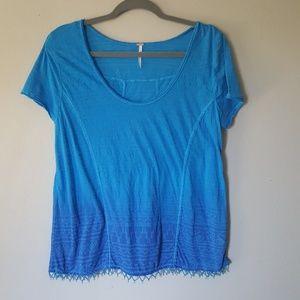 Free People T-Shirt Boho Burn Out Size L beading